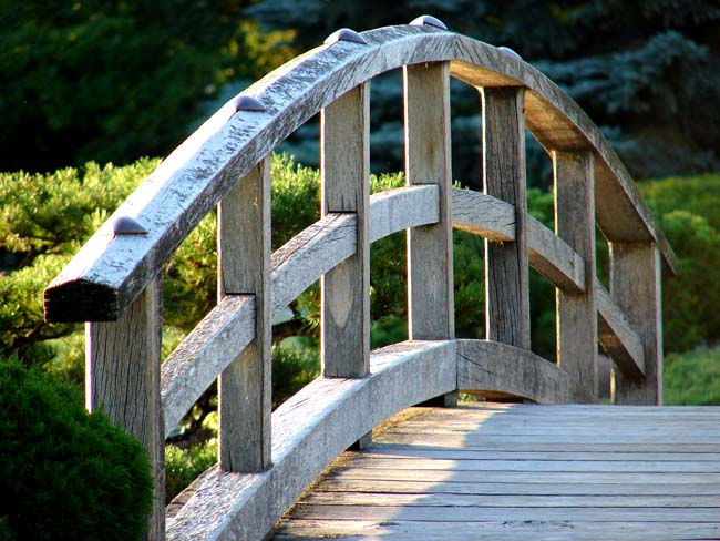 Wooden Bridge at the Nikka Yuko Japanese Garden in Lethbridge Alberta